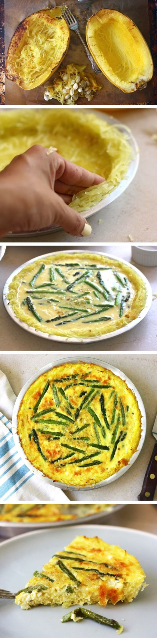Squash Crusted Aparagus Quiche Recipe - made with carmelized onions, prosciutto, blue cheese, spinach and purple potatoes instead. No prosciutto for me!