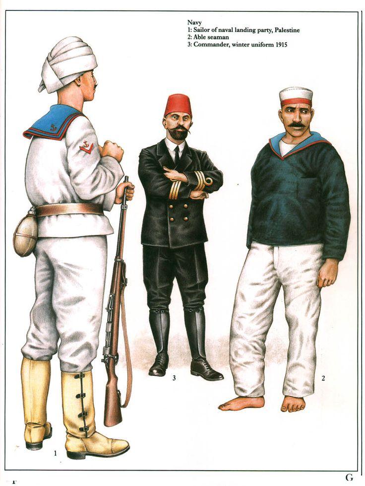 Ottoman Navy 1914-18:  1: Sailor of naval landing party, Palestine;  2: Able seaman;  3: Commander, winter uniform 1915