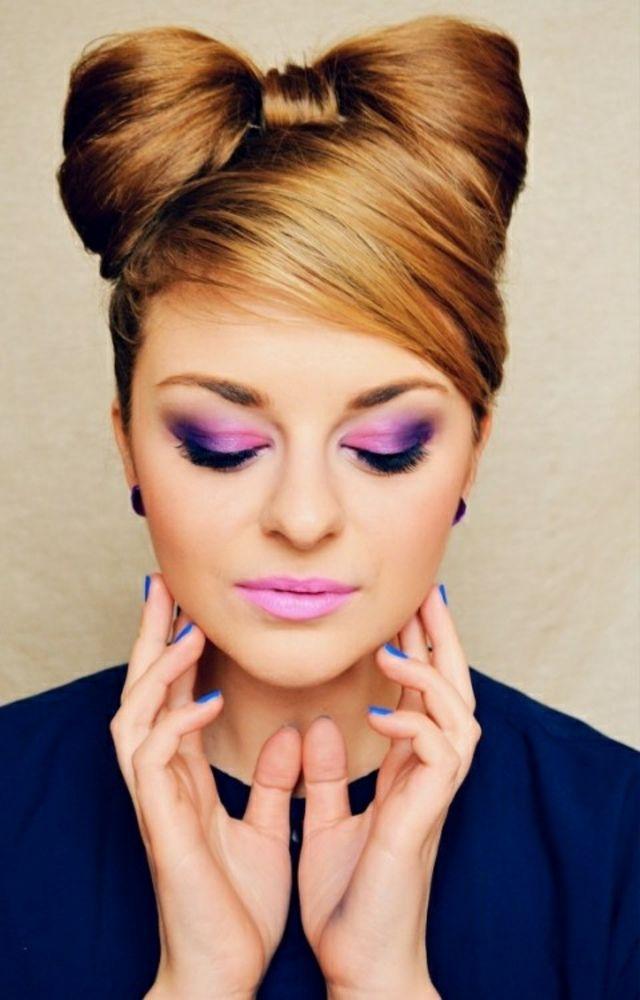 maquillage rose violet fetes: