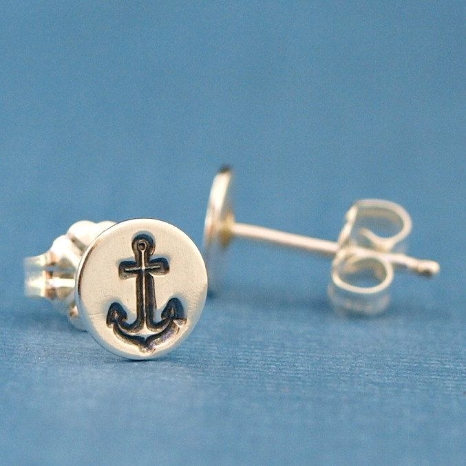 Anchor Jewelry Anchor Earrings Sterling Silver by CatherineMarissa, $20.00