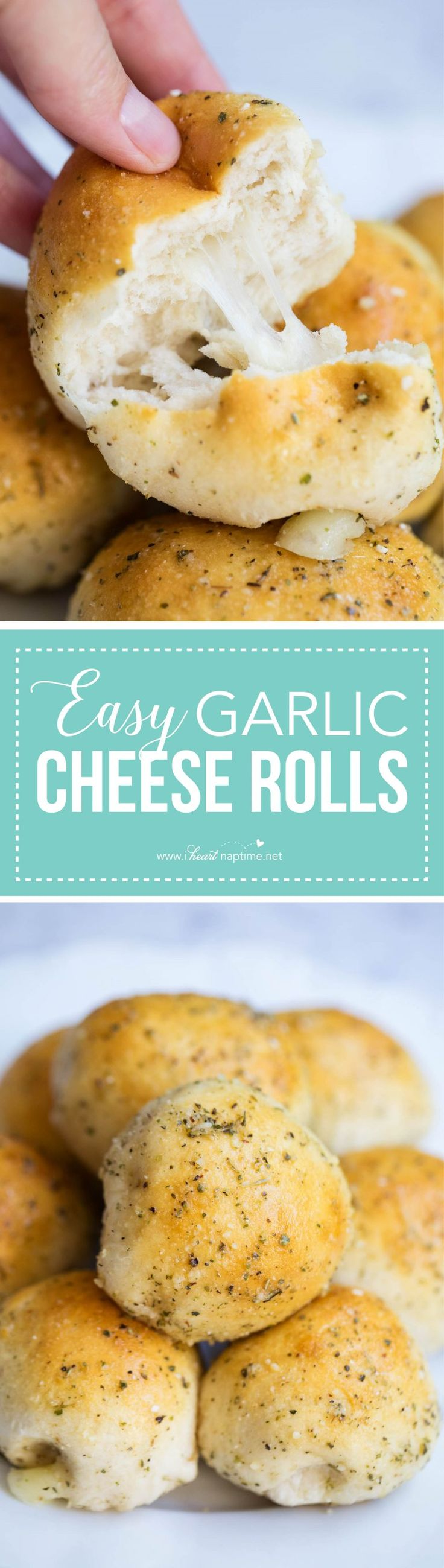 EASY garlic cheese rolls filled with mozzarella cheese and brushed with melted butter and a garlic seasoning. Such a quick and easy dinner roll recipe that can be made in 20 minutes.