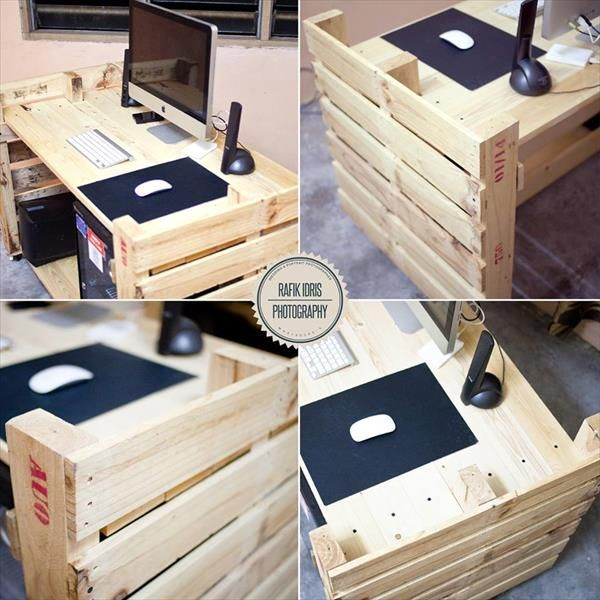 Diy Pallet Chair Design Ideas To Try: Computer Desk Made From Pallets