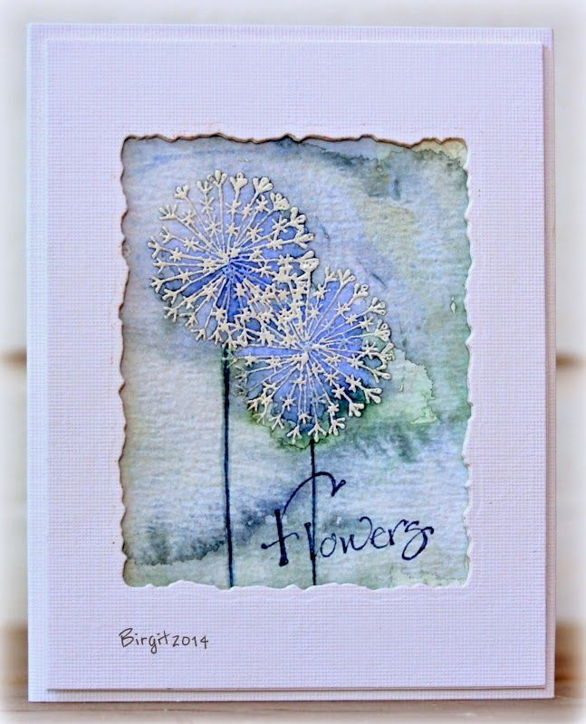 "Rapport från ett skrivbord. Birgit's card uses stamps from the Serendipity ""Flower Pops"" set, on a watercolour background."