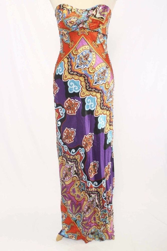 Cache Size 4 Bead Embellished Graphic Print Strapless Maxi Dress NWT 2025 L716  | eBay