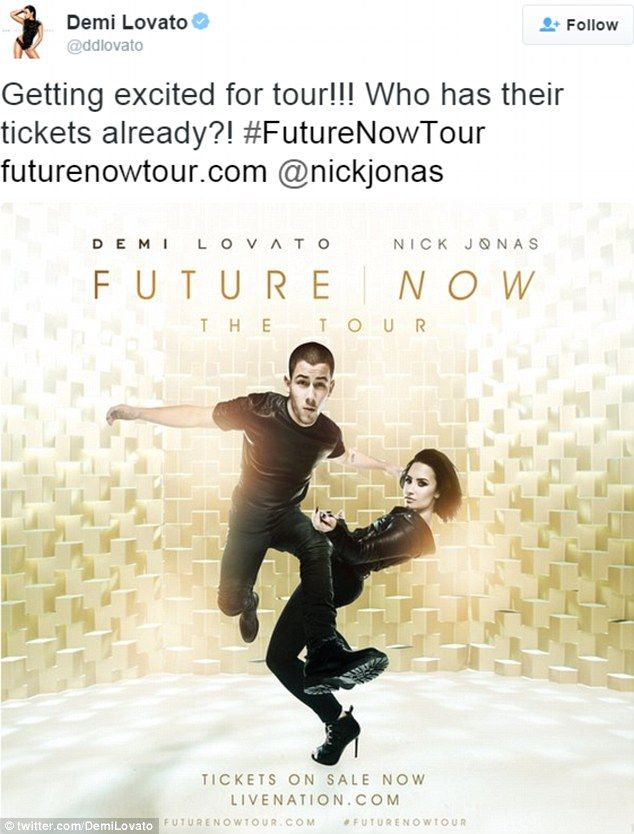 Getting excited: On Wednesday, Demi also shared the tour poster for her upcoming Future Now concerts with Nick Jonas