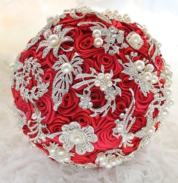 Etsy, Red Rose Bouquet,Brooch bouquet, DIY ribbon roses ball, bridal bouquet,Size can be customized on Etsy, $158.00