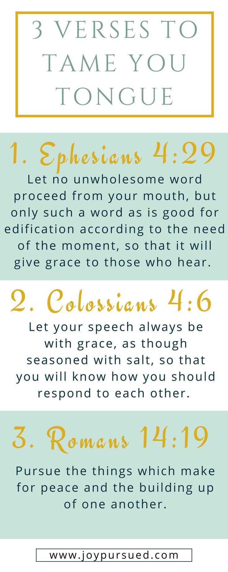 Does your tongue ever get the better of you? This post shares how praying 3 verses can help you tame your tongue. Click through to read the whole post.