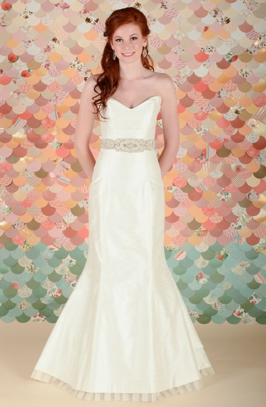 Unique Raw silk mermaid wedding dress with a nice detail at the hem The Jessica from