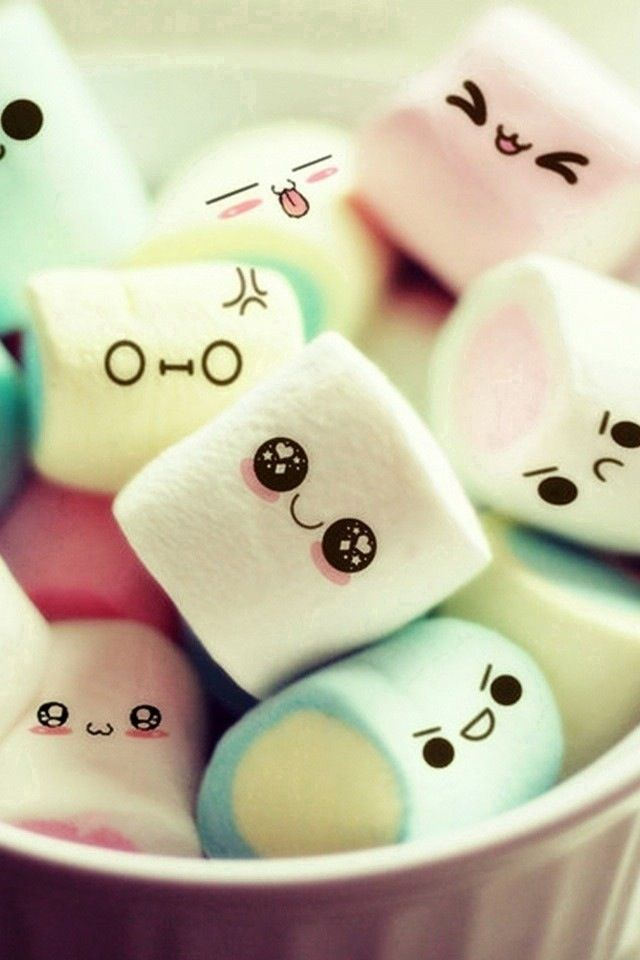 Cute marshmellows that are smiling