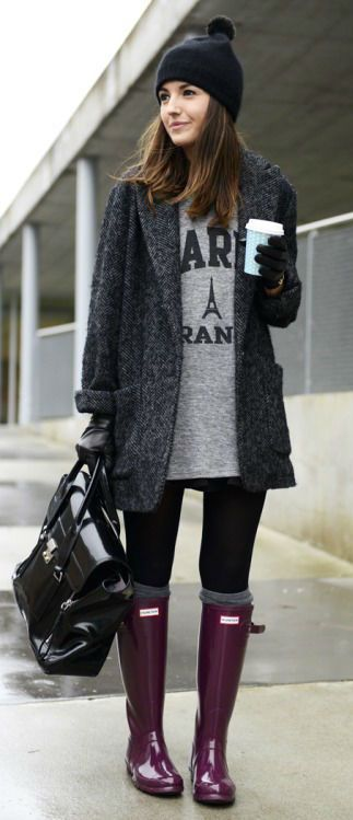 #winter #fashion / gray tweed coat + boots