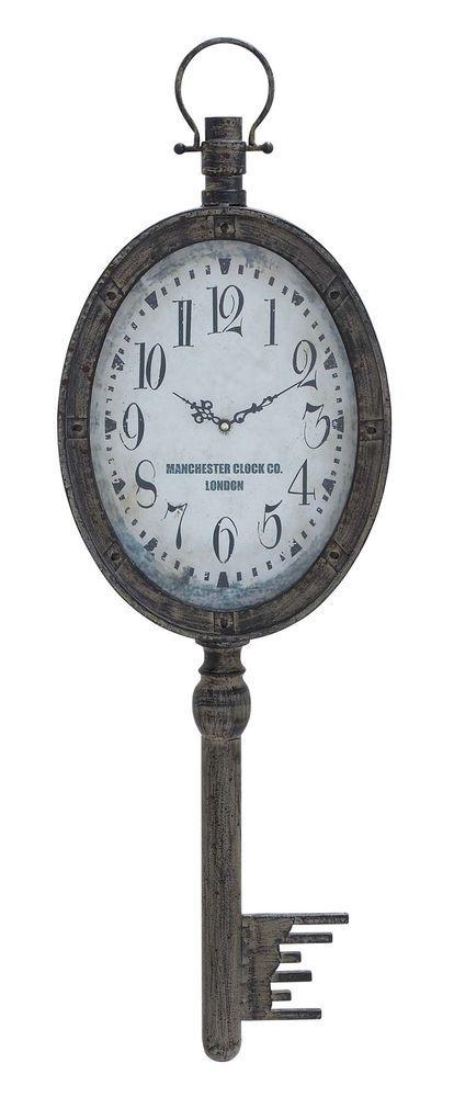 Wall Clock Large Decorative Old Fashion Key Design Aged Distressed Style Clocks  | eBay