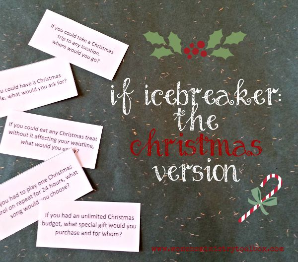 "The Christmas version of the ""If"" game is a great icebreaker for your Women's Ministry Christmas fellowship, small group Christmas party, Youth Christmas celebration, or Christmas office party. Questions range from serious to fun!"