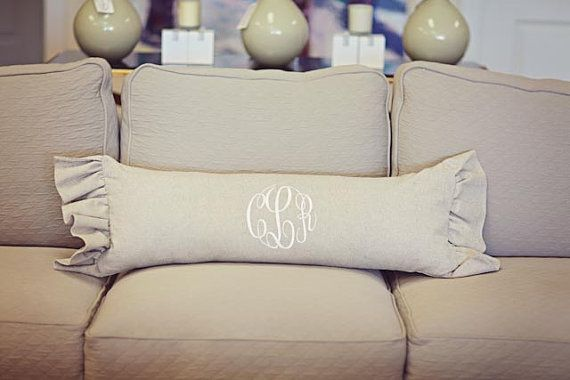 Monogrammed Linen Large Lumbar with Side by tootledoodesigns, $85.00