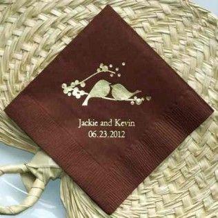 Serviettes personnalisées romantiques oiseaux (par 50) - MARIAGE ORIGINAL
