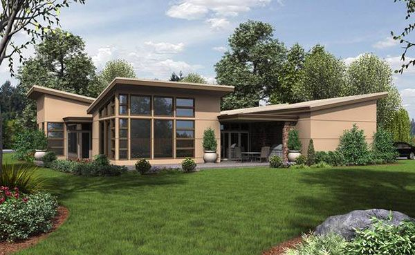 Rear view of modern layout house plan house plans Rear view home plans