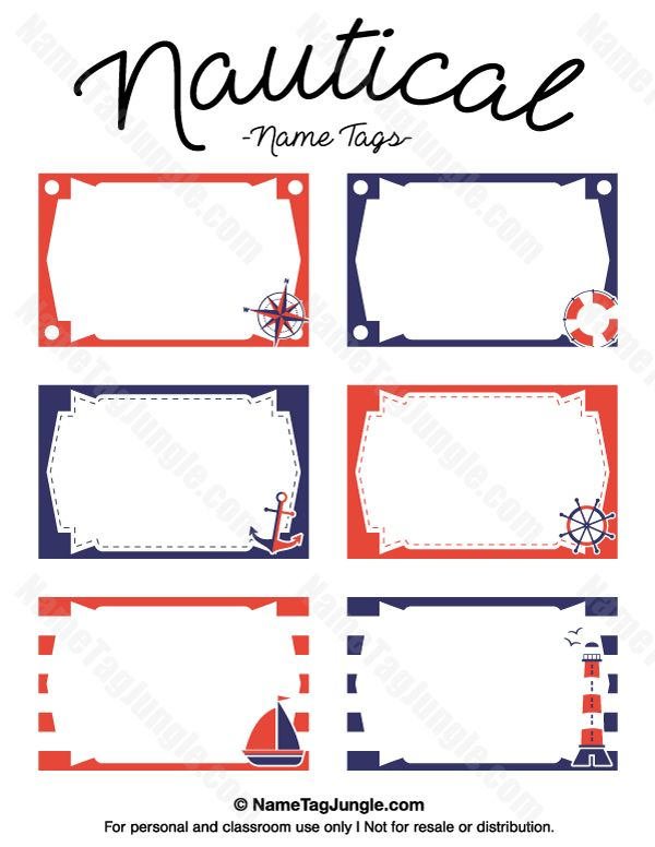 Free printable nautical name tags. The template can also be used for creating items like labels and place cards. Download the PDF at http://nametagjungle.com/name-tag/nautical/