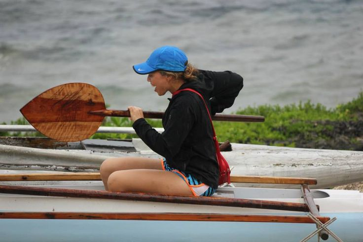 Niue afine practicing her rowing in the vaka/canoe