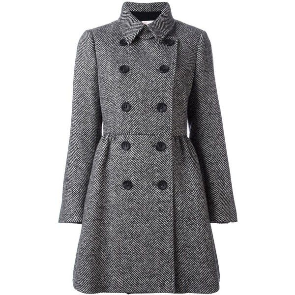 Red Valentino herringbone double breasted coat (13 595 ZAR) ❤ liked on Polyvore featuring outerwear, coats, black, red valentino, double-breasted coat, red valentino coat, herringbone coats and pattern coat