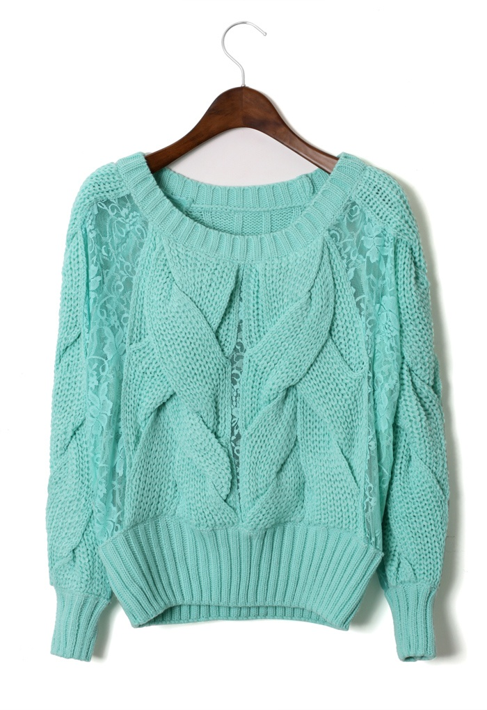 Lace Sleeves Cable Knit Sweater in Mint - Retro, Indie and Unique Fashion