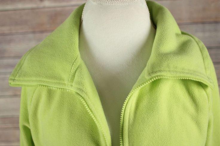 Calvin Klein Womens Fleece Jacket size Large Lime Green Zip Up  #CalvinKlein #FleeceJacket