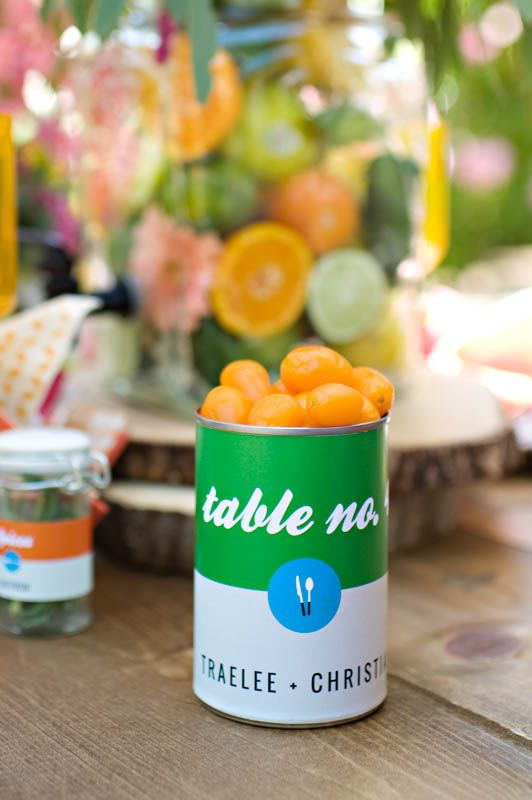 creative table numbers with a touch of pop art // photo by Kat Bevel, wedding design by Sara Mackenzie Creative