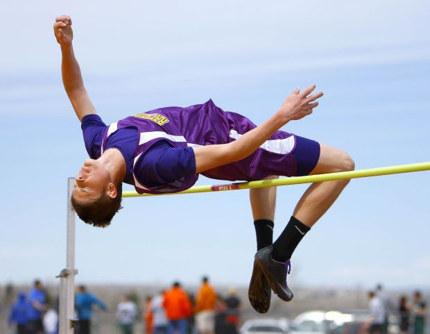 Tanner Jenen of Snake River competes in the high jump during the Trojan Invitational on Friday afternoon at Kelly Walsh High School in Casper. see the story at http://trib.com/sports/high-school/olympic/basketball-players-account-for-considerable-competition-in-the-high-jump/article_a45c51df-91c0-5564-bc7c-231a3853e7dc.html