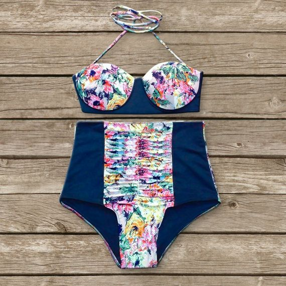 Floral Bustier Bikini - Vintage Style High Waisted Pin-up Swimwear - Amazing Floral Print - Unique & So Cute!