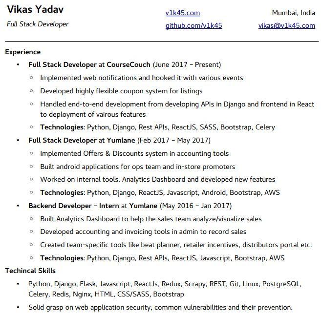 Free Python Developer Resume Samples Professional Resume Templates Resume Template Professional Resume Templates Resume