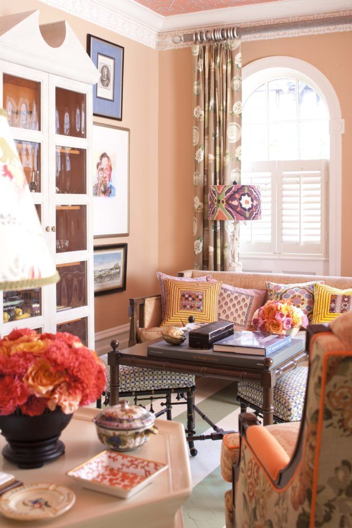 View Madcap Cottage's previous home in Brooklyn, New York. It has an English country house vibe with vintage pieces, bold patterns, and a peach living room detail.