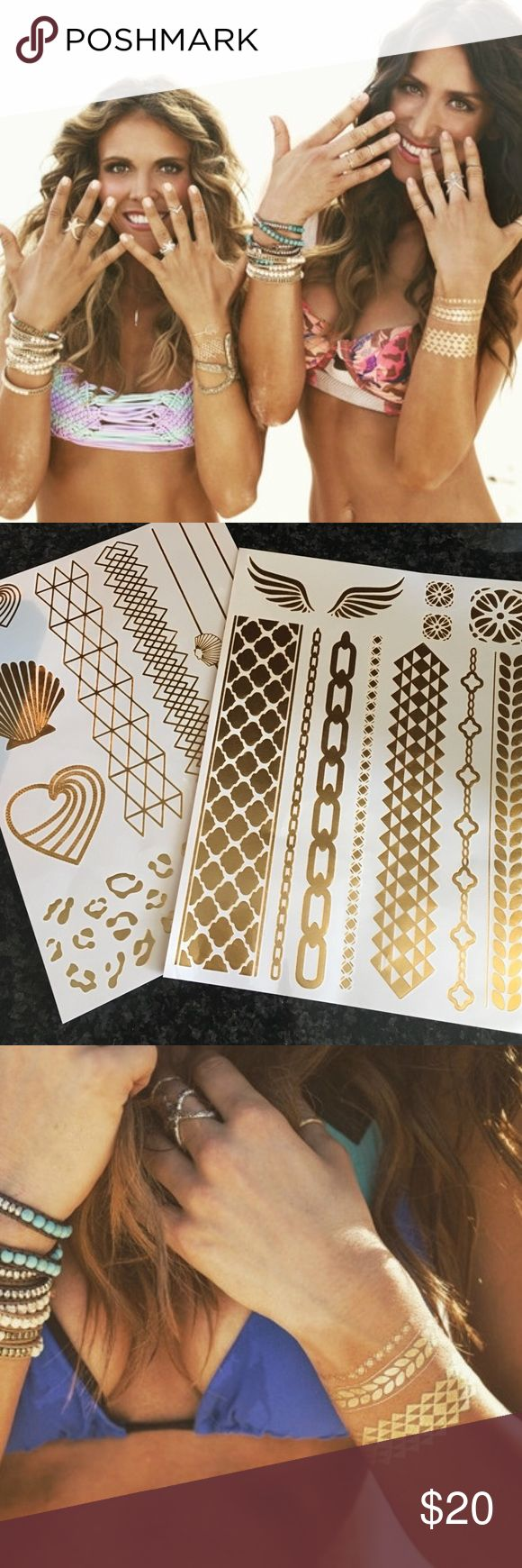 Beautiful TIU Flash Tattoo Set!  Shimmer Tattoos  Shine this summer with beautiful gold and silver shimmer temporary tattoos!   Beautiful geometric patterns, bracelets and even some Tone It Up hearts. Comes with two sheets of metallic temporary tattoos that are easy to apply with a little warm water.   Instructions included! Tone it up Accessories