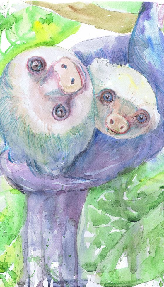 Sloth Art Nursery Decor Mother And Baby Watercolor