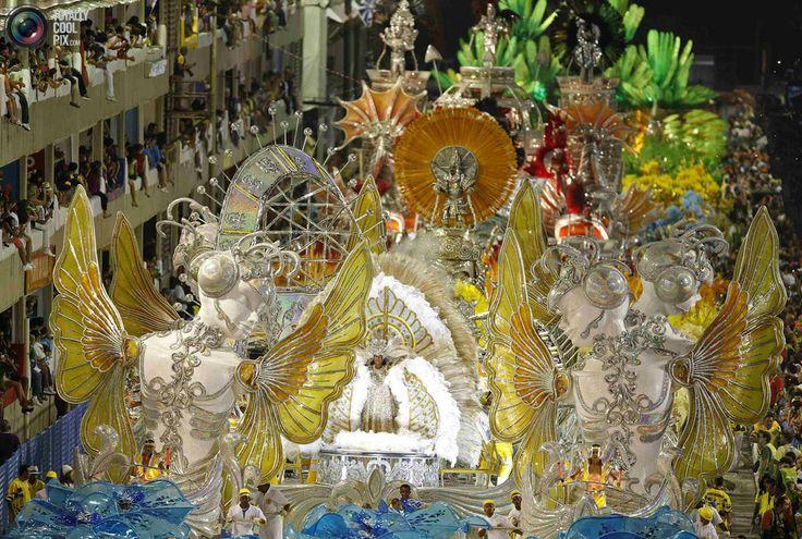 Sao Clemente samba school participate in the annual carnival parade in Rio de Janeiro