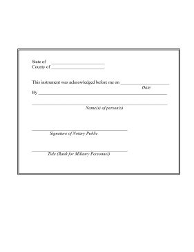 This simple, basic form can be used as a notary acknowledgement record, verifying that an instrument was identified and authorized in front of the sworn witness. Free to download and print