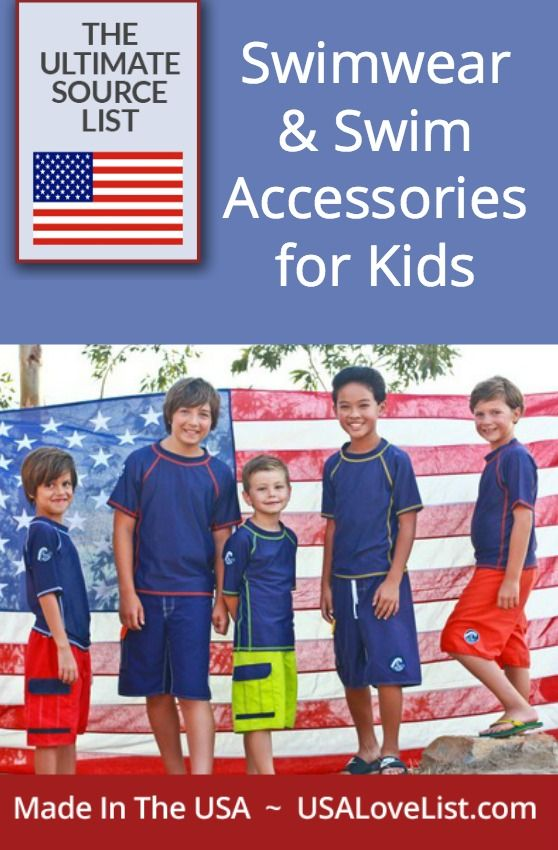 Swimwear for boys, bathing suits for girls, swim accessories for kids made in the USA