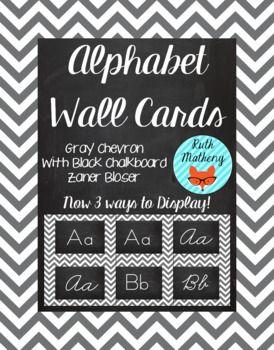 Chevron Alphabet Wall Cards Manuscript & Cursive - Gray & Black