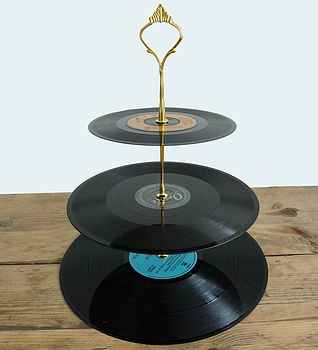vintage vinyl cake stand by tinker & tailor | notonthehighstreet.com. TOO COOL!!