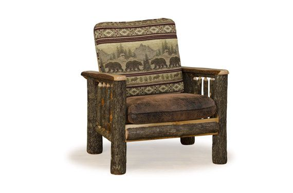 Rustic Hickory on Hickory Arm Chair - Living Room Chair - Game Room Chair - Game Room - Man Cave - Handmade - Custom Amish Made in USA  Model#