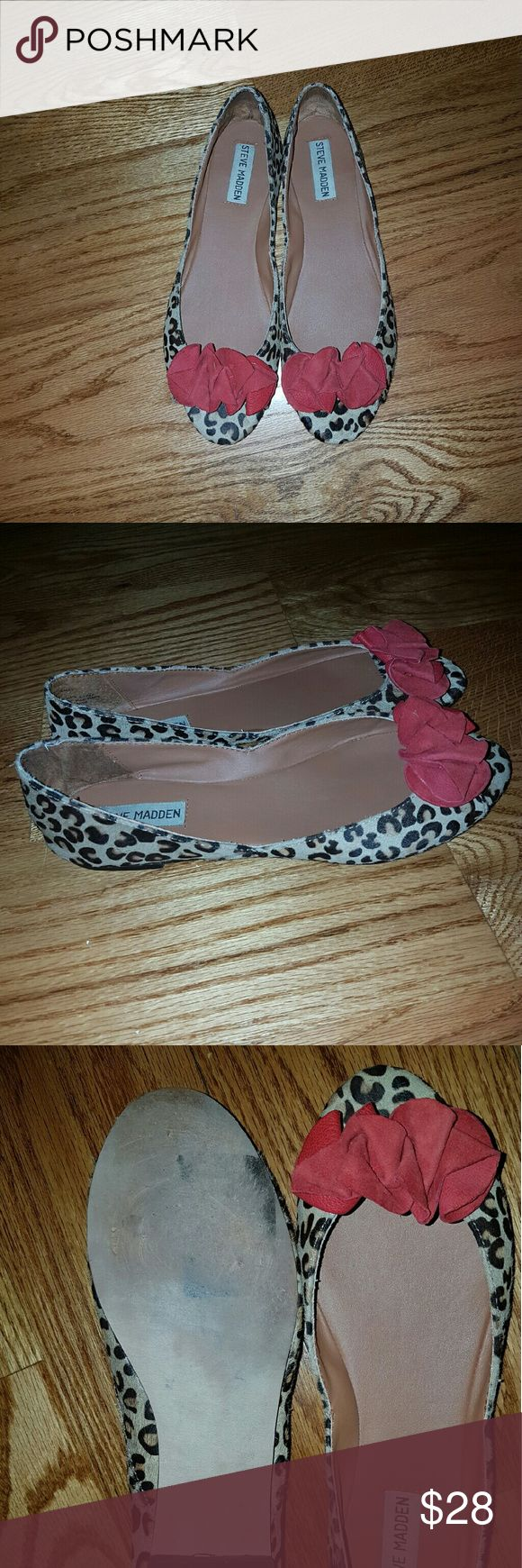 Steve Madden Open Toe Flats Cheetah print open toe flats by Steve Madden. Size US 8 in a great condition. Worn them few times. These beauties don't fit me anymore. Hopefully, they will find a new home. Steve Madden Shoes Flats & Loafers