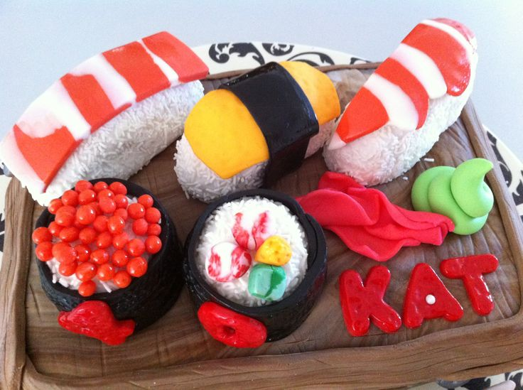 A fondant sushi cake even your kids will love! http://outofman.com/2014/12/fondant-sushi-cake/