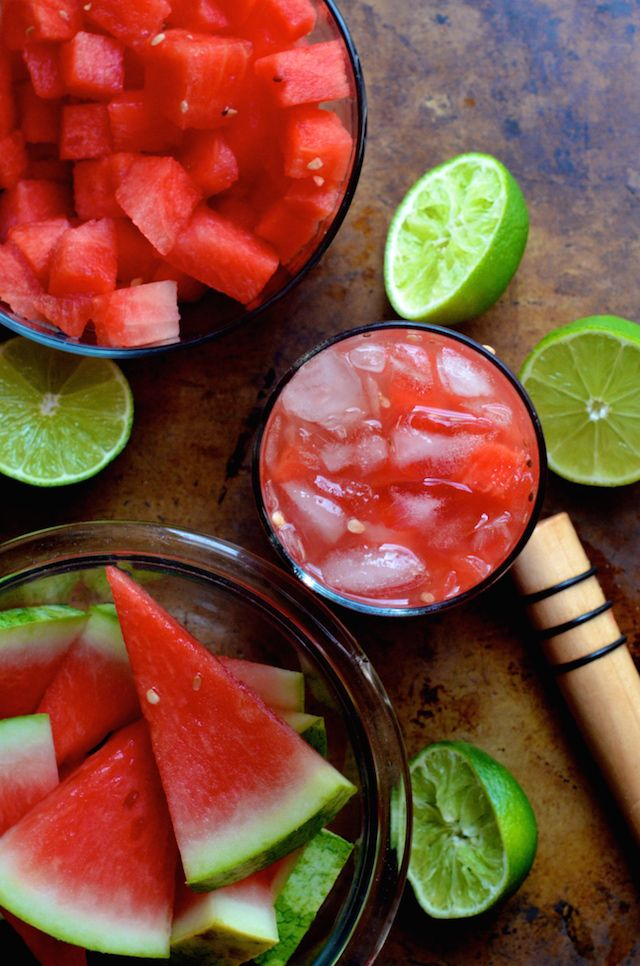 Smashed Watermelon Rum Cocktail by alwaysorderdessert.com | Watermelon and rum are magic together in this easy watermelon cocktail made with fresh lime juice and dark rum.