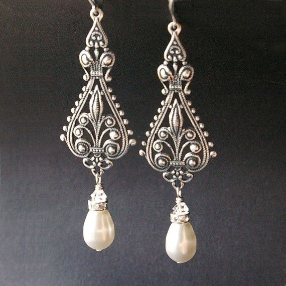 Vintage Bridal Silver Filigree Swarovski Pearl Chandelier Earrings, Vivienne Collection