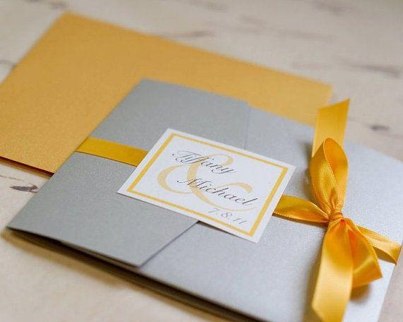 Invitaciones de boda cuadradas en gris, blanco y amarillo elegantisimas!