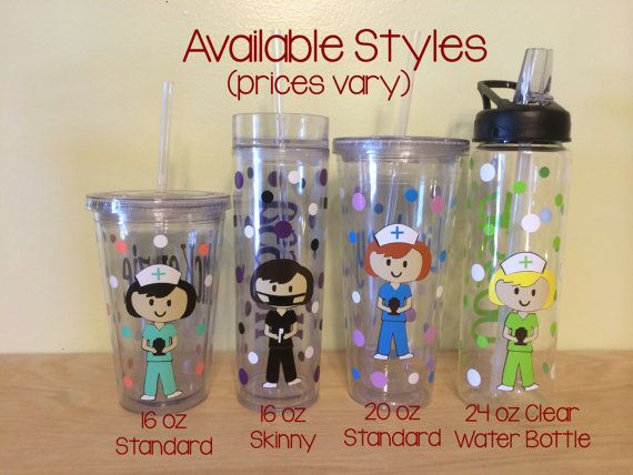 Personalized with name acrylic tumbler or water bottle - Nurse, RN, Doctor, Technician, Dental hygienist, Vet, Teacher on Etsy, $14.00
