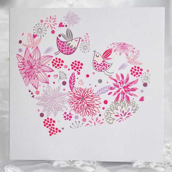Pink Hochzeitskarten mit Vogel