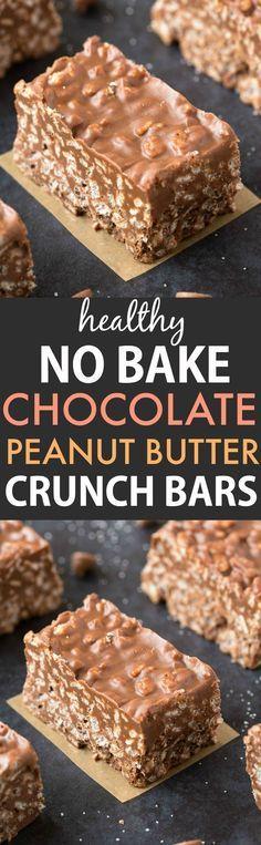 Healthy No Bake Chocolate Peanut Butter Crunch Bars (Vegan, Gluten Free)- Easy copycat crunch bar candy recipe using healthy ingredients!
