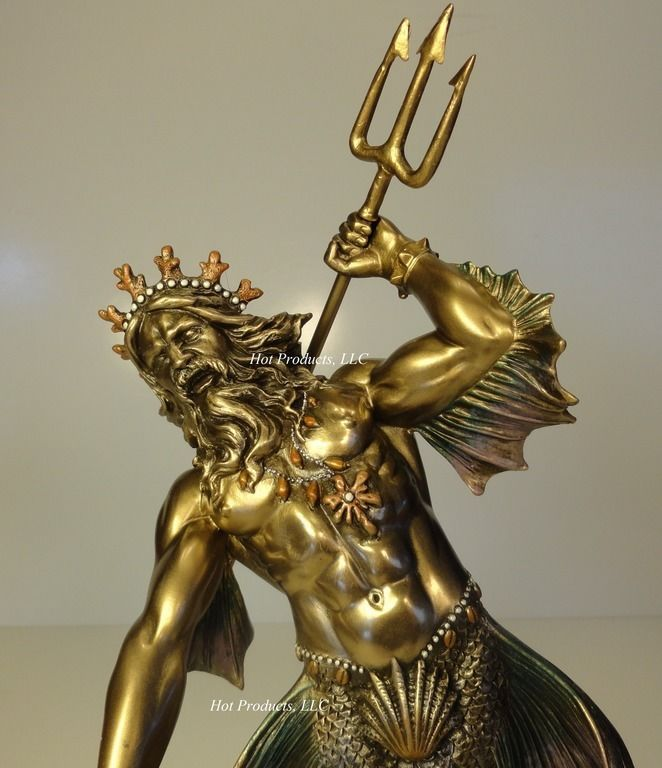 Poseidon god of sea throwing trident greek mythology statue bronze finish greek mythology - Poseidon statue greece ...