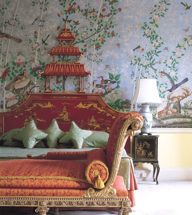 Brocket Hall, England. Could also just take aspects of this lovely room. Maybe sans the mural (beautiful as it is), but its such beautiful furniture, each piece, fabric and shape stand on their own