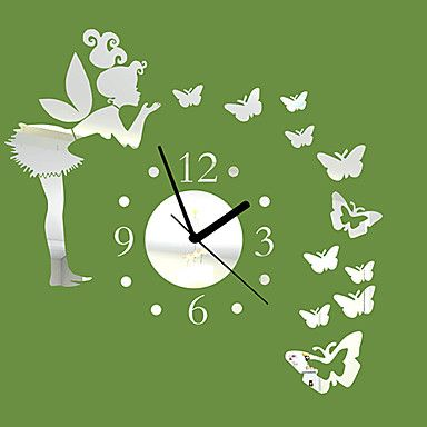 "20""H Modern Style Angle Butterfly Mirror Wall Clock – USD $ 29.99"