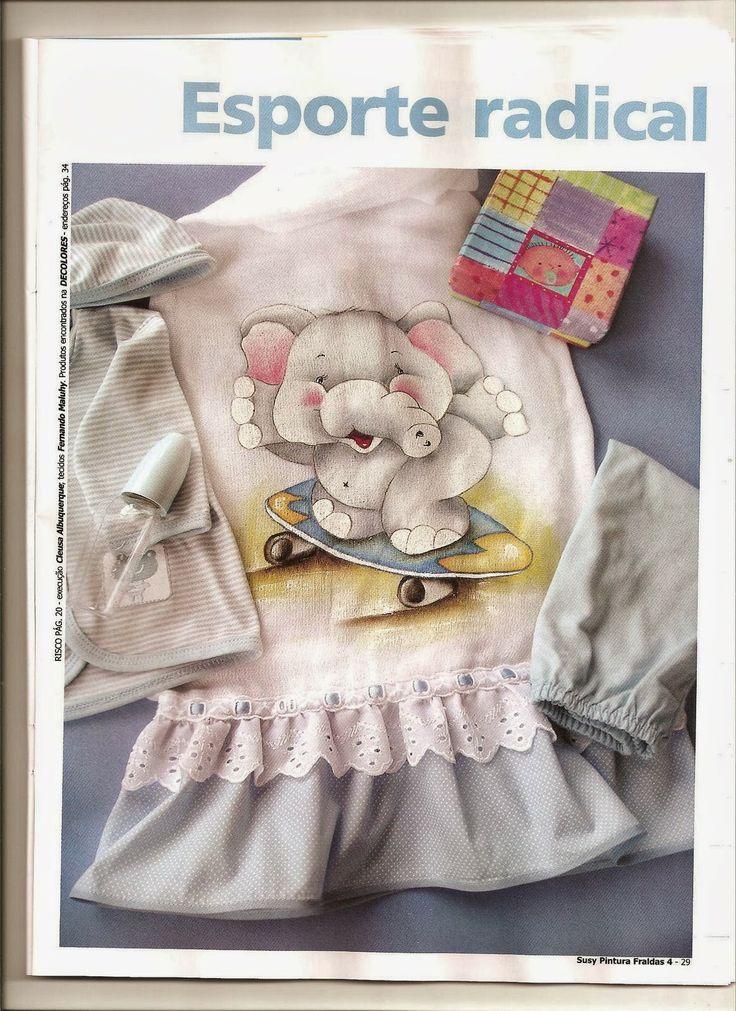 Elefantinho — pintura em fraldas de tecido.