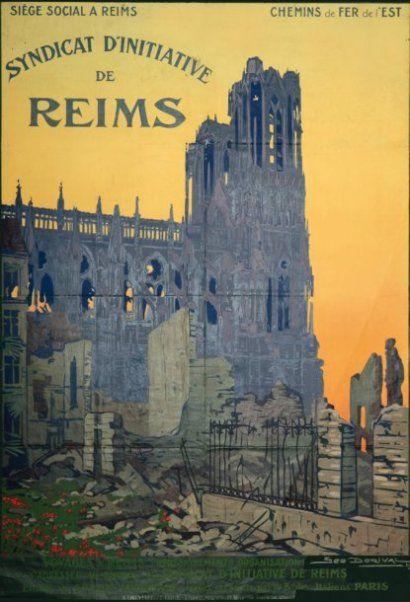chemins de fer de l'est - Reims - illustration de Géo DORIVAL - 1919 -